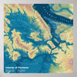"""Islas de Portland--Mapa extremo 24"""" de la subida Póster"""