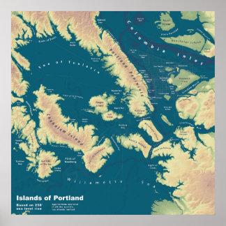 Islas de Portland--Mapa extremo de la subida del Impresiones
