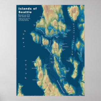 "Islas de Seattle--Subida extrema del mar, 18"" x24 Póster"