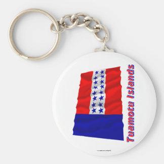 Islas de Tuamotu que agitan la bandera con nombre Llavero Personalizado