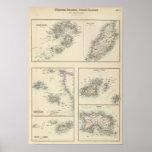 Islas del Canal, islas de Scilly, e isla del hombr Póster