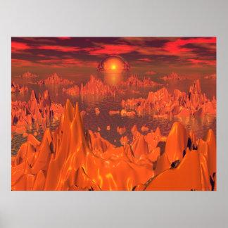 Islas del espacio del naranja impresiones