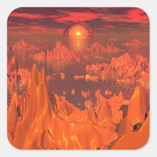 Islas del espacio del naranja pegatina cuadrada