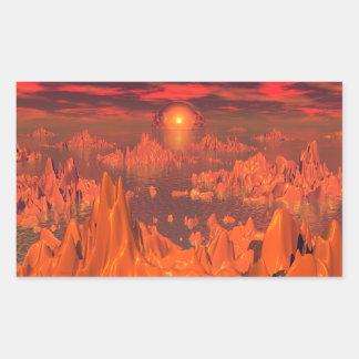 Islas del espacio del naranja pegatina rectangular