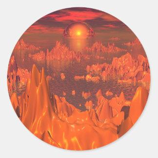 Islas del espacio del naranja pegatina redonda