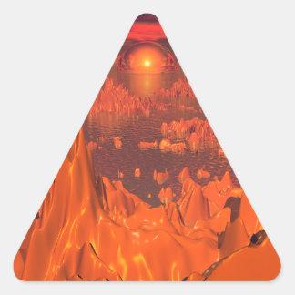 Islas del espacio del naranja pegatina triangular