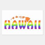 Islas del naranja de Hawaii del arco iris Rectangular Pegatinas