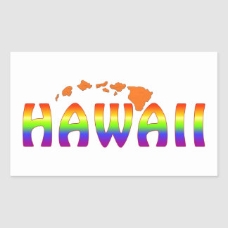 Islas del naranja de Hawaii del arco iris Pegatina Rectangular