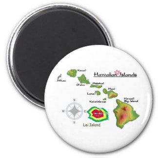 Islas hawaianas con la isla raramente vista de los iman para frigorífico