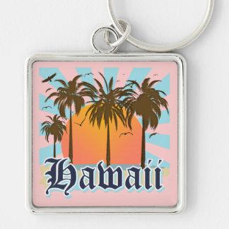 Islas hawaianas Sourvenir de Hawaii Llavero Cuadrado Plateado