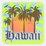 Islas hawaianas Sourvenir de Hawaii Pegatinas Cuadradas Personalizadas