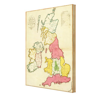 Islas llanas de Británicos del mapa Impresión En Lienzo