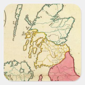Islas llanas de Británicos del mapa Pegatina Cuadrada