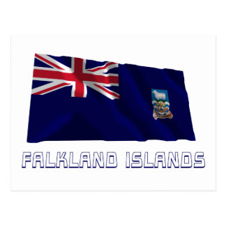 Islas Malvinas que agitan la bandera con nombre Postal