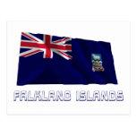 Islas Malvinas que agitan la bandera con nombre Tarjetas Postales