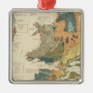 Islas paleontológicas de Británicos del mapa Adorno Navideño Cuadrado De Metal