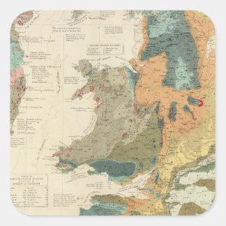 Islas paleontológicas de Británicos del mapa Pegatina Cuadrada