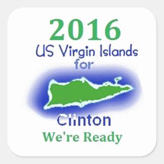 Islas Vírgenes 2016 de Clinton Calcomania Cuadradas