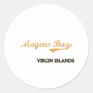 Islas Vírgenes de la bahía de Magens clásicas Pegatina Redonda