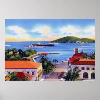 Islas Vírgenes Downtow de Charlotte Amalie St Thom Poster