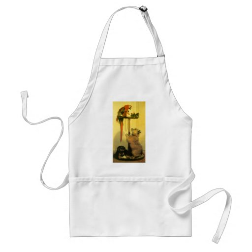 Islay, Tilco, a Macaw and Love Birds by Landseer Adult Apron