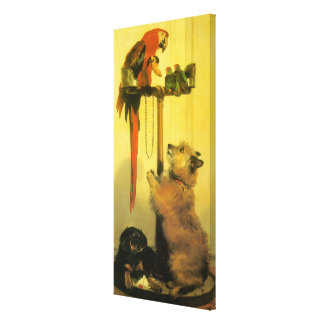 Islay, Tilco, a Macaw and Love Birds by Landseer Canvas Print
