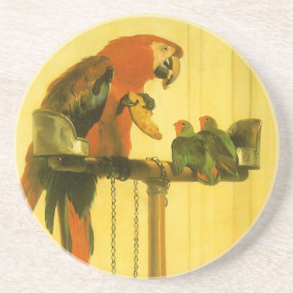 Islay, Tilco, a Macaw and Love Birds by Landseer Coaster