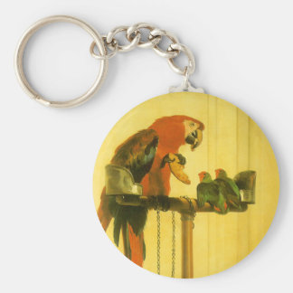 Islay, Tilco, a Macaw and Love Birds by Landseer Keychain