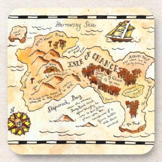 Isle of Chance Treasure Map Coaster Set