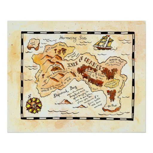 Isle of Chance Treasure Map Posters