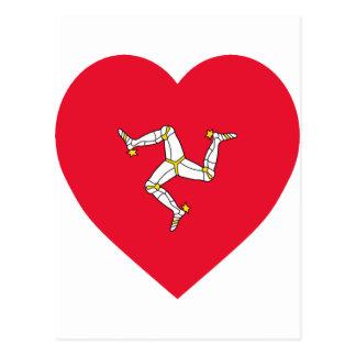Isle of Man Flag Heart Postcard