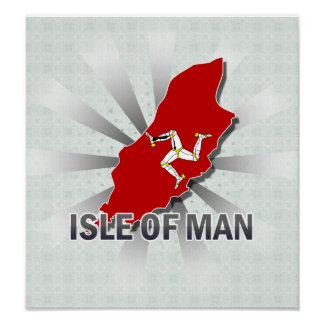 Isle Of Man Flag Map 2.0 Posters