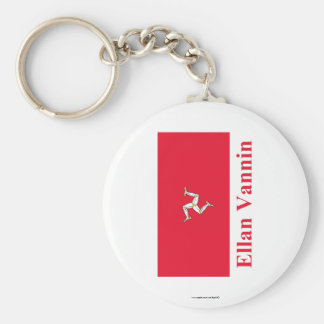 Isle of Man Flag with Name in Manx Key Chain