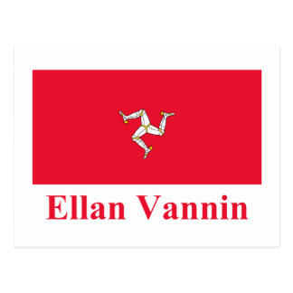 Isle of Man Flag with Name in Manx Postcards
