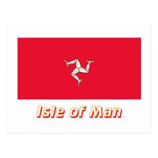 Isle of Man Flag with Name Postcard