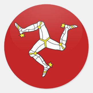 Isle Of Man quality Flag Circle Round Stickers