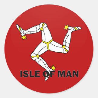 Isle Of Man Roundel quality Flag Classic Round Sticker