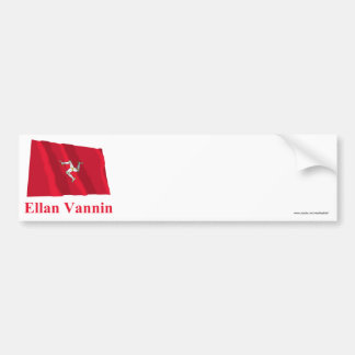 Isle of Man Waving Flag with Name in Manx Bumper Stickers