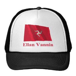 Isle of Man Waving Flag with Name in Manx Hats