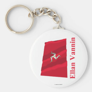 Isle of Man Waving Flag with Name in Manx Key Chains