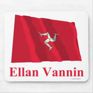 Isle of Man Waving Flag with Name in Manx Mouse Pads
