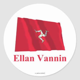 Isle of Man Waving Flag with Name in Manx Stickers