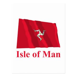Isle of Man Waving Flag with Name Postcard