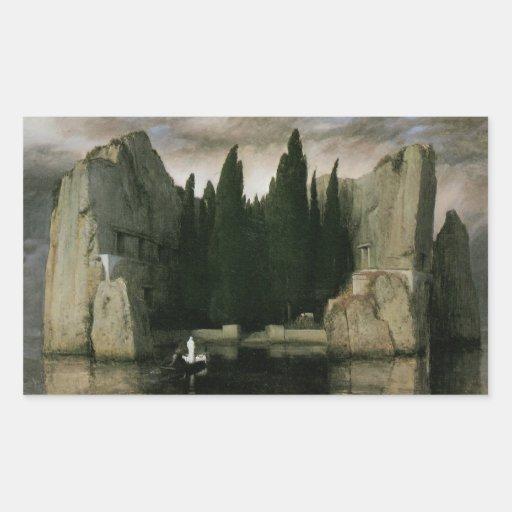 Isle of the Dead by Arnold Bocklin, Symbolism Art Rectangular Sticker
