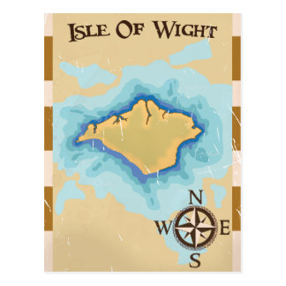 Isle of Wight Treasure map travel poster Postcard