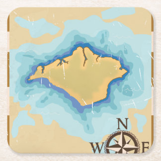 Isle of Wight Treasure map travel poster Square Paper Coaster