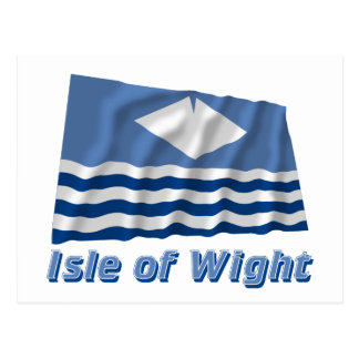 Isle of Wight Waving Flag with Name Postcard
