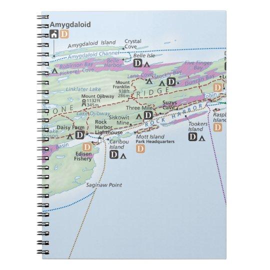 Isle Royale Michigan Map Notebook Zazzle Com