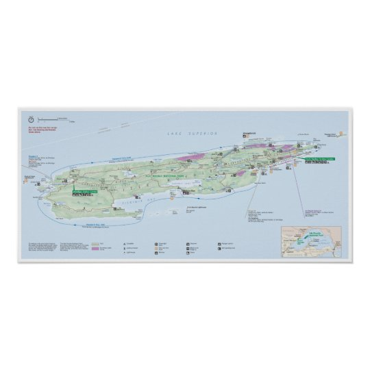 Isle Royale Michigan Map Poster Zazzle Com