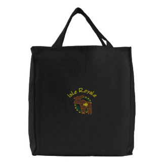 Isle Royale Michigan Moose Embroidered Bag
